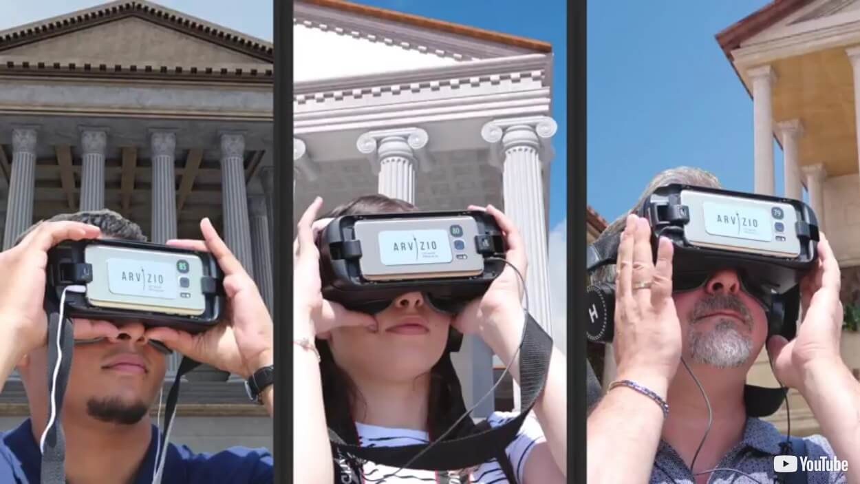 Excursions with augmented reality (VR/AR) in Pompeii - Retro